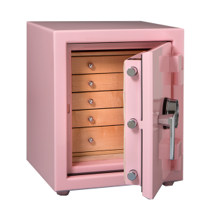 Pink Small Jewelry Safe with Drawers